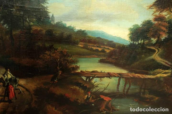 Arte: Escuela Holandesa s.XVIII-XIX, Paisaje, buen tamaño. Gran calidad Con marco 96x76cm - Foto 12 - 271619223