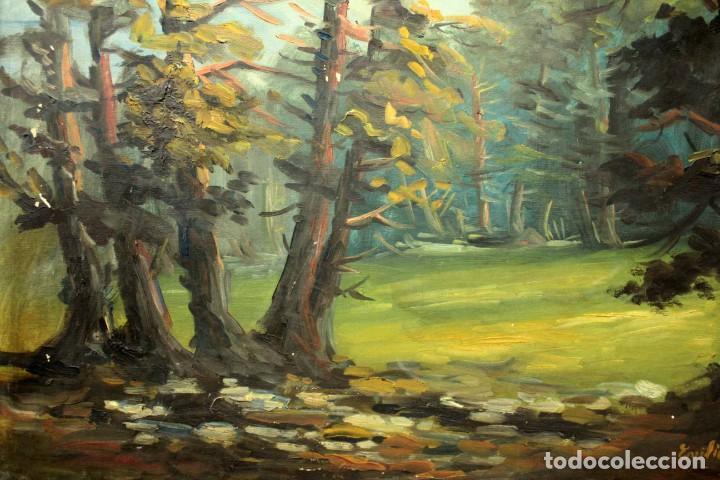 Arte: Emilio Prieto. Paisaje pintado al oleo sobre lienzo. Fechado 1959. Con marco 81x69cm - Foto 3 - 271623993