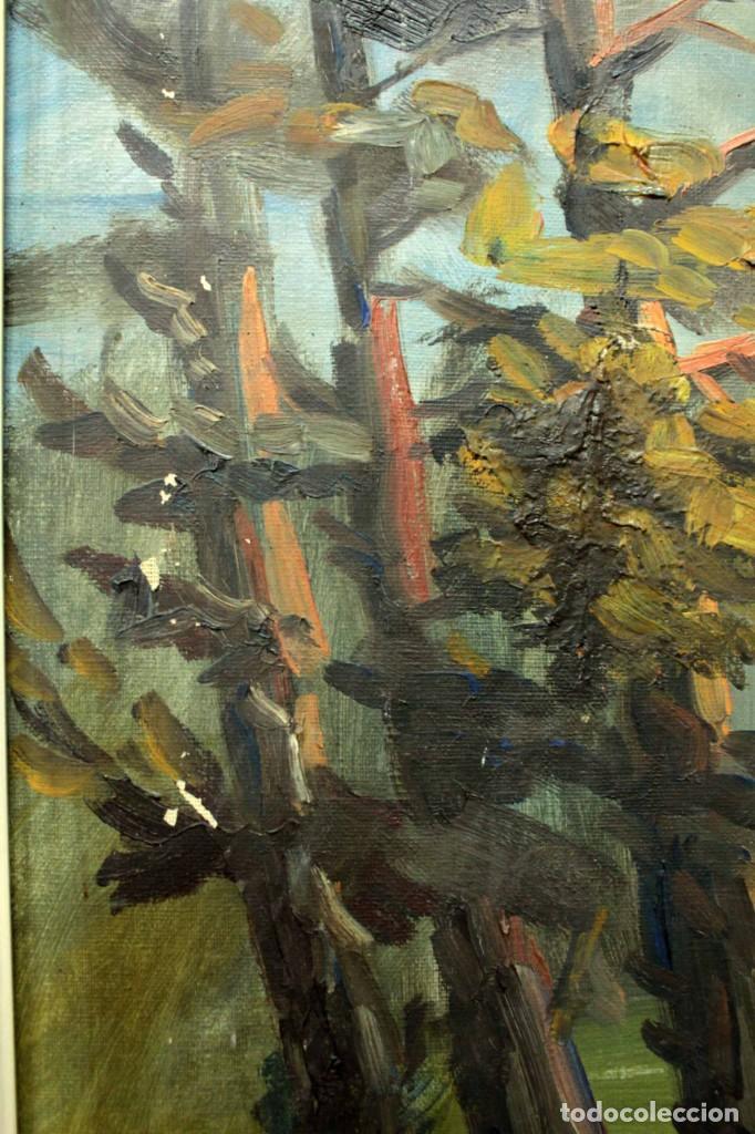 Arte: Emilio Prieto. Paisaje pintado al oleo sobre lienzo. Fechado 1959. Con marco 81x69cm - Foto 4 - 271623993