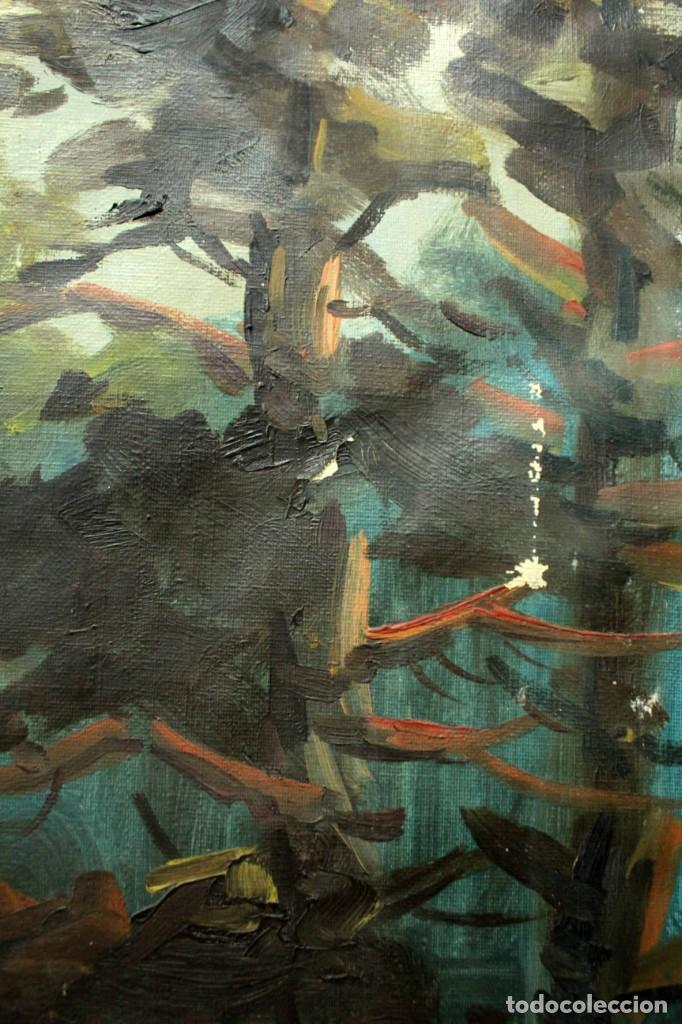 Arte: Emilio Prieto. Paisaje pintado al oleo sobre lienzo. Fechado 1959. Con marco 81x69cm - Foto 5 - 271623993