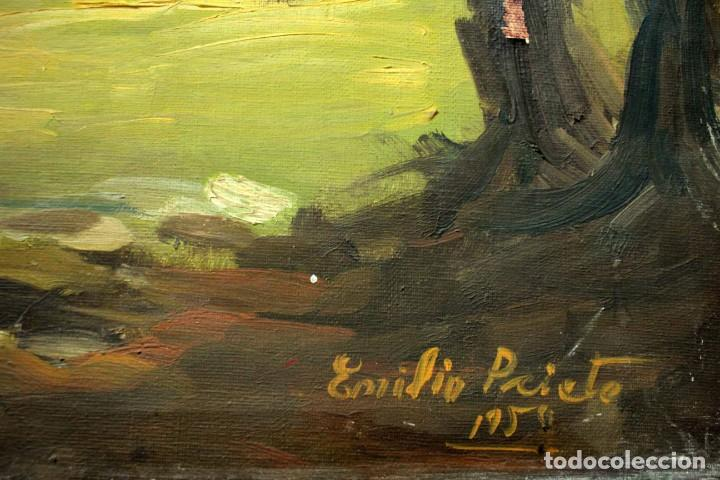 Arte: Emilio Prieto. Paisaje pintado al oleo sobre lienzo. Fechado 1959. Con marco 81x69cm - Foto 6 - 271623993