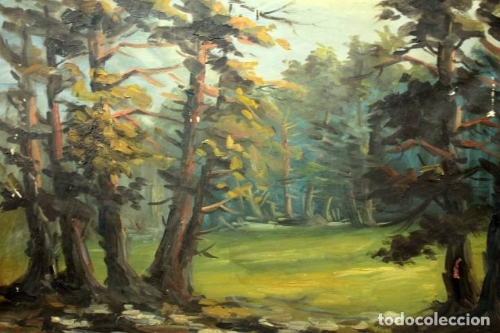 Arte: Emilio Prieto. Paisaje pintado al oleo sobre lienzo. Fechado 1959. Con marco 81x69cm - Foto 7 - 271623993