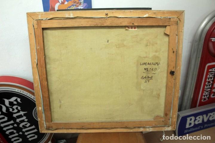 Arte: Emilio Prieto. Paisaje pintado al oleo sobre lienzo. Fechado 1959. Con marco 81x69cm - Foto 8 - 271623993