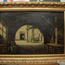 Arte: A. RUICARVIA, OLEO SOBRE TABLA DE GRAN CALIDAD, PATIO INTERIOR. ENMARCADO 74X54CM. Lote 271628113