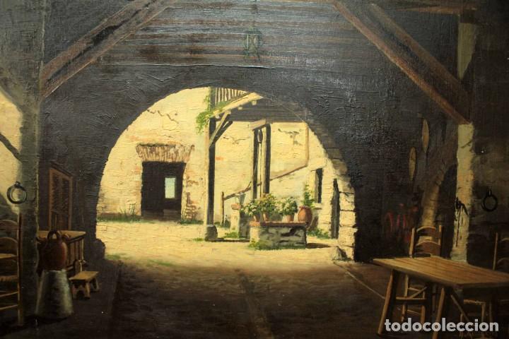 Arte: A. RUICARVIA, OLEO SOBRE TABLA DE GRAN CALIDAD, PATIO INTERIOR. ENMARCADO 74X54CM - Foto 2 - 271628113