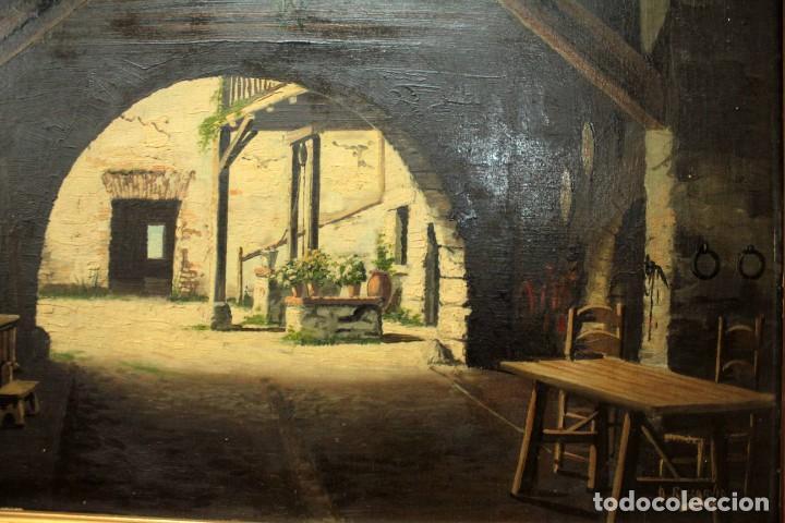Arte: A. RUICARVIA, OLEO SOBRE TABLA DE GRAN CALIDAD, PATIO INTERIOR. ENMARCADO 74X54CM - Foto 3 - 271628113