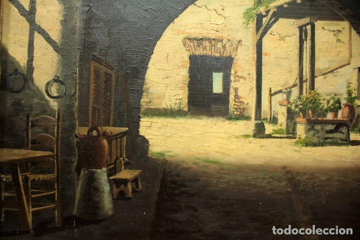 Arte: A. RUICARVIA, OLEO SOBRE TABLA DE GRAN CALIDAD, PATIO INTERIOR. ENMARCADO 74X54CM - Foto 4 - 271628113