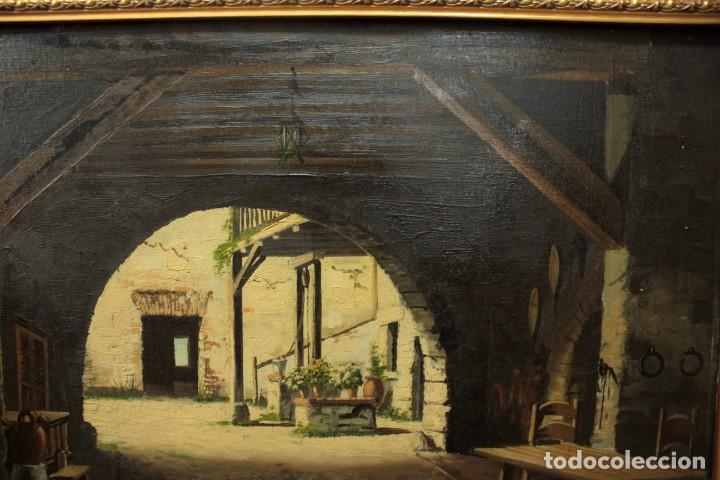 Arte: A. RUICARVIA, OLEO SOBRE TABLA DE GRAN CALIDAD, PATIO INTERIOR. ENMARCADO 74X54CM - Foto 5 - 271628113
