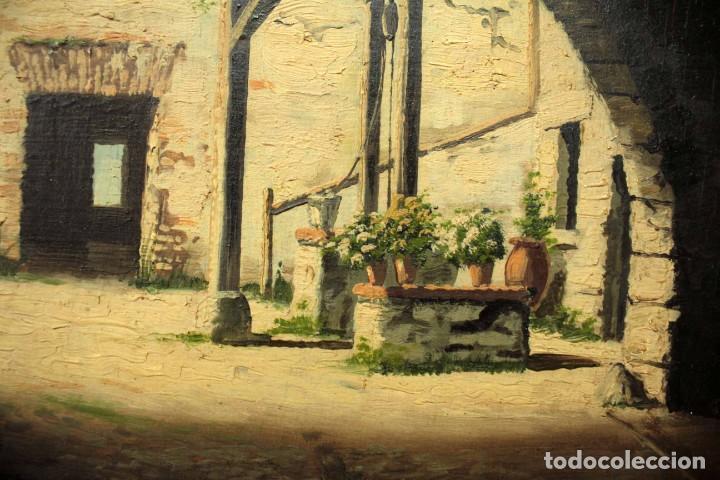 Arte: A. RUICARVIA, OLEO SOBRE TABLA DE GRAN CALIDAD, PATIO INTERIOR. ENMARCADO 74X54CM - Foto 6 - 271628113