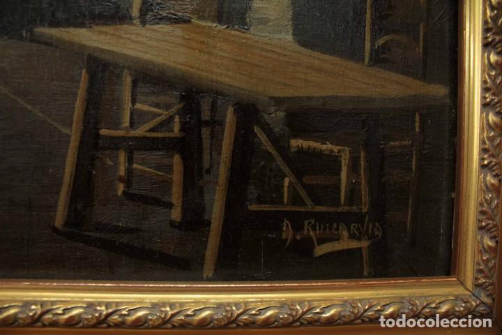 Arte: A. RUICARVIA, OLEO SOBRE TABLA DE GRAN CALIDAD, PATIO INTERIOR. ENMARCADO 74X54CM - Foto 7 - 271628113