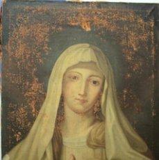 Arte: ESCUELA VALENCIANA, 1740'S OLEO SOBRE LIENZO, VIRGEN. NECESITA RESTAURACION. 74X52CM. Lote 271633698