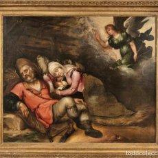 """Arte: ADRIAEN BLOEMAERT """"DESCANSO EN LA HUIDA A EGIPTO"""" SIGLO XVII. Lote 271786128"""