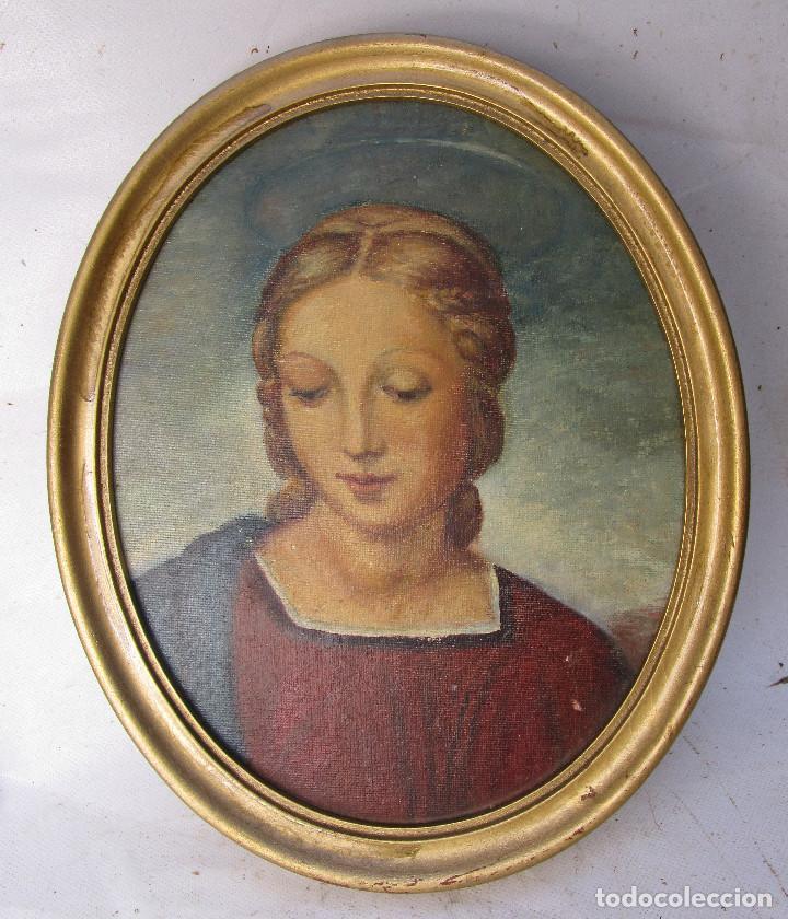 PRECIOSA PINTURA VIRGEN CUADRO OLEO 1950 R.OLIVER (Arte - Pintura - Pintura al Óleo Contemporánea )