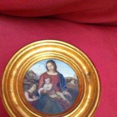 Arte: ÓLEO SOBRE TABLERO DE CAJA DE PUROS , CON MARCO EN PAN DE ORO ,. Lote 272296043