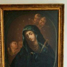 Arte: ANTIGUA PINTURA , OLEO SOBRE LIENZO DEL SIGLO XVII ,MATER DOLOROSA CON TEXTO. Lote 272477288