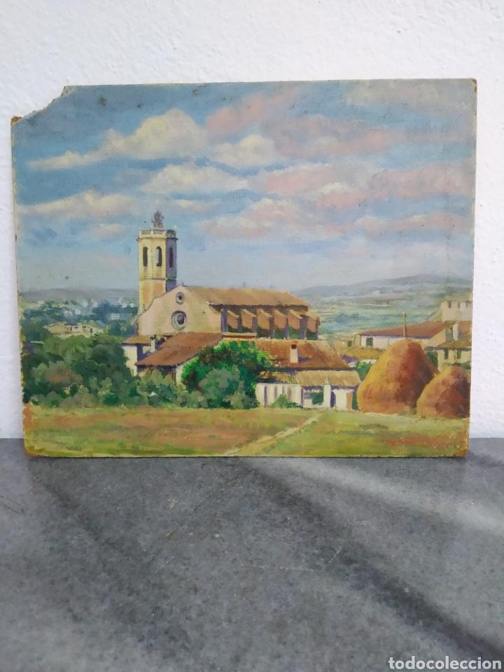 Arte: Pintura oleo sobre cartón ,escuela catalana ,titulado centellas desde el marzo 1954 - Foto 3 - 272703843
