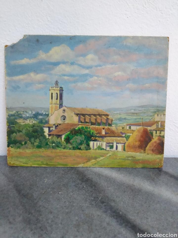Arte: Pintura oleo sobre cartón ,escuela catalana ,titulado centellas desde el marzo 1954 - Foto 4 - 272703843
