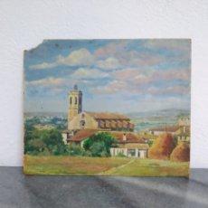 Arte: PINTURA OLEO SOBRE CARTÓN ,ESCUELA CATALANA ,TITULADO CENTELLAS DESDE EL MARZO 1954. Lote 272703843