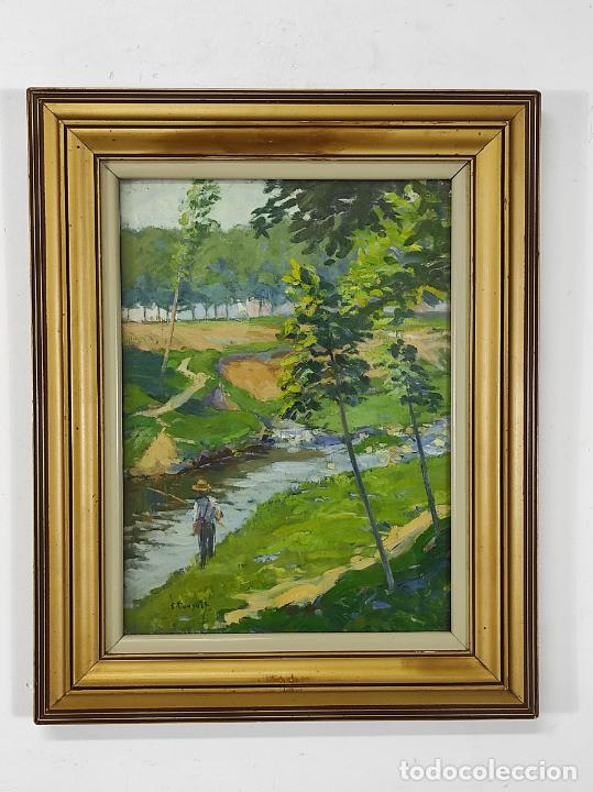 SEBASTIÀ CONGOST (OLOT 1919-2009) - ÓLEO SOBRE TELA - PAISAJE PESCADOR (Arte - Pintura - Pintura al Óleo Moderna sin fecha definida)