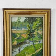 Arte: SEBASTIÀ CONGOST (OLOT 1919-2009) - ÓLEO SOBRE TELA - PAISAJE PESCADOR. Lote 272734368