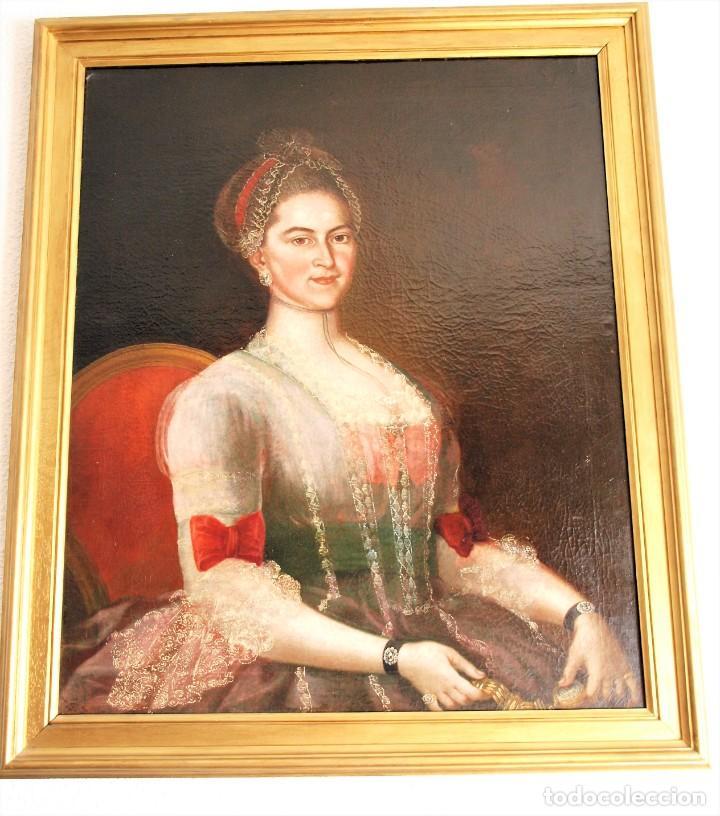 CUADRO ANTIGUO DE PINTURA AL ÓLEO SOBRE LIENZO. (Arte - Pintura - Pintura al Óleo Antigua siglo XVIII)