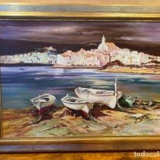 Arte: CADAQUÉS RICARDO QUIROGA 1959 OBRA DE GRAN FORMATO. Lote 273187873