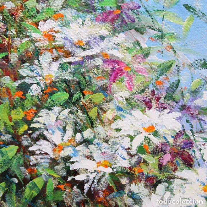 Arte: RAMON GENERO COMAJOAN (Manlleu, 1954) OLEO SOBRE TELA. MARGARITAS. 90 X 90 CM. - Foto 4 - 273317453