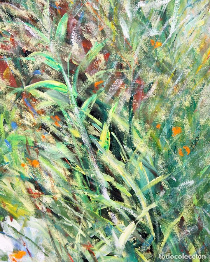 Arte: RAMON GENERO COMAJOAN (Manlleu, 1954) OLEO SOBRE TELA. MARGARITAS. 90 X 90 CM. - Foto 9 - 273317453