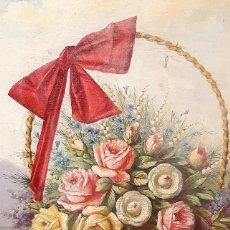 Arte: BODEGÓN DE FLORES. CESTO DE FLORES CON LAZO. FINALES S. XIX.. Lote 207140748