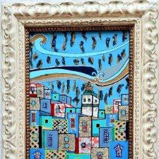 Arte: LA MEDINA AZUL,CHAOUEN DE LA PINTORA CANARIA RUTH CALDERÍN(LAS PALMAS DE GRAN CANARIA,1977). Lote 177398747