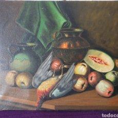 Arte: ANTIGUO CUADRO BODEGÓN ÓLEO SOBRE LIENZO. Lote 274285098