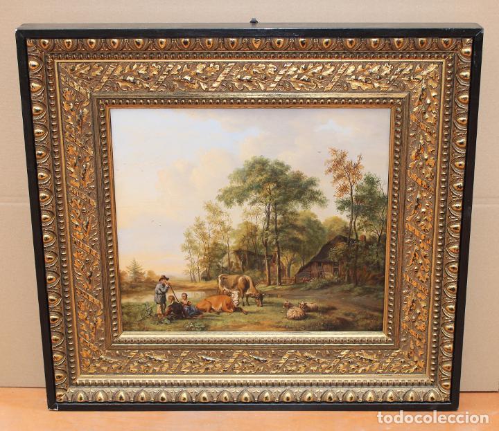 PASTOR CON VACAS Y OVEJAS - ESCUELA ITALIANA DEL XVIII - 35 X 41 CM. (Arte - Pintura - Pintura al Óleo Antigua siglo XVIII)