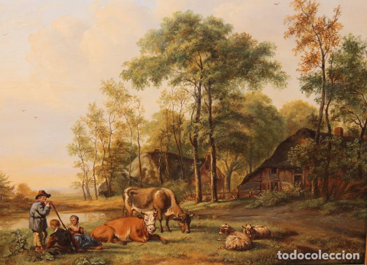 Arte: PASTOR CON VACAS Y OVEJAS - ESCUELA ITALIANA DEL XVIII - 35 X 41 CM. - Foto 2 - 274352483