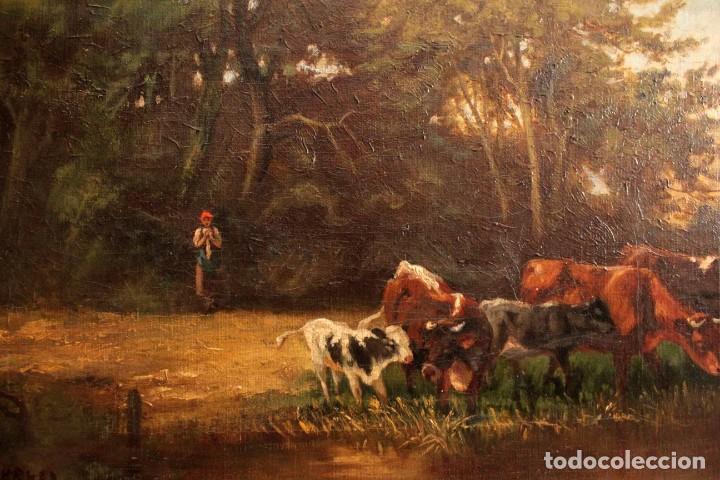 Arte: Escuela francesa o belga del siglo XIX, vacas en el rio. oleo sobre lienzo. Firma ilegible. - Foto 3 - 274912718