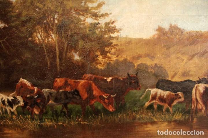 Arte: Escuela francesa o belga del siglo XIX, vacas en el rio. oleo sobre lienzo. Firma ilegible. - Foto 4 - 274912718
