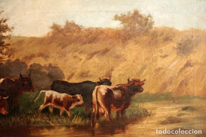Arte: Escuela francesa o belga del siglo XIX, vacas en el rio. oleo sobre lienzo. Firma ilegible. - Foto 5 - 274912718