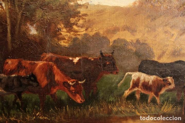 Arte: Escuela francesa o belga del siglo XIX, vacas en el rio. oleo sobre lienzo. Firma ilegible. - Foto 6 - 274912718