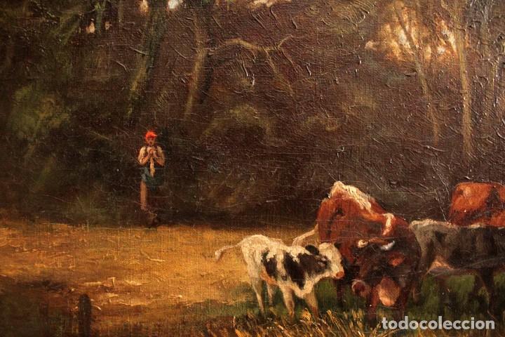 Arte: Escuela francesa o belga del siglo XIX, vacas en el rio. oleo sobre lienzo. Firma ilegible. - Foto 7 - 274912718