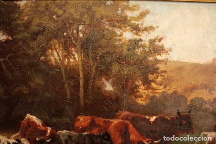 Arte: Escuela francesa o belga del siglo XIX, vacas en el rio. oleo sobre lienzo. Firma ilegible. - Foto 8 - 274912718