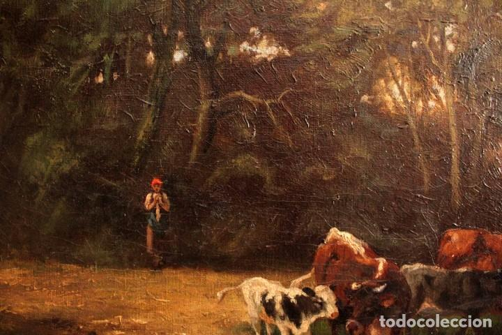Arte: Escuela francesa o belga del siglo XIX, vacas en el rio. oleo sobre lienzo. Firma ilegible. - Foto 9 - 274912718