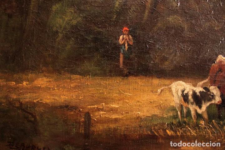 Arte: Escuela francesa o belga del siglo XIX, vacas en el rio. oleo sobre lienzo. Firma ilegible. - Foto 10 - 274912718