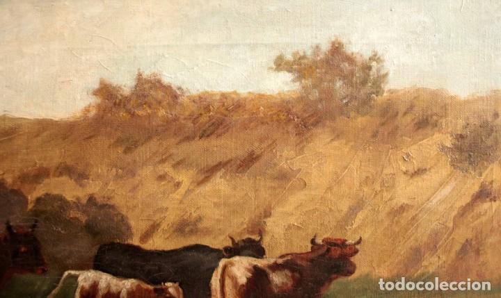 Arte: Escuela francesa o belga del siglo XIX, vacas en el rio. oleo sobre lienzo. Firma ilegible. - Foto 12 - 274912718