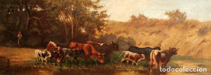 Arte: Escuela francesa o belga del siglo XIX, vacas en el rio. oleo sobre lienzo. Firma ilegible. - Foto 14 - 274912718