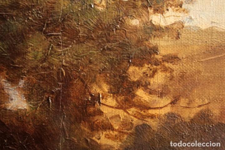 Arte: Escuela francesa o belga del siglo XIX, vacas en el rio. oleo sobre lienzo. Firma ilegible. - Foto 16 - 274912718