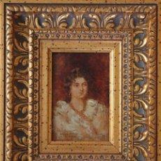 Art: AGUSTÍN SALINAS Y TERUEL (ZARAGOZA 1861-ROMA 1915). RETRATO DE L. VALEAU 1901. Ó/T. MED: 19 X 12 CM.. Lote 275164453