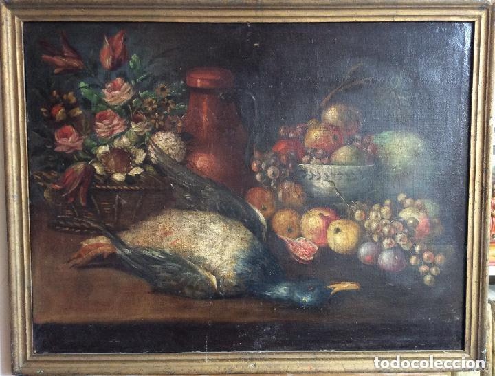 BODEGÓN NATURALEZA MUERTA ,SIGLO XVIII - (Arte - Pintura - Pintura al Óleo Antigua siglo XVIII)