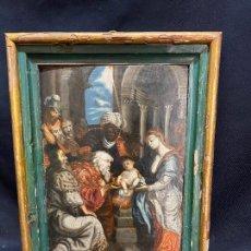 Arte: ADORACION DE LOS REYES MAGOS. OLEO SOBRE TABLA, S.XVII.. Lote 275486973