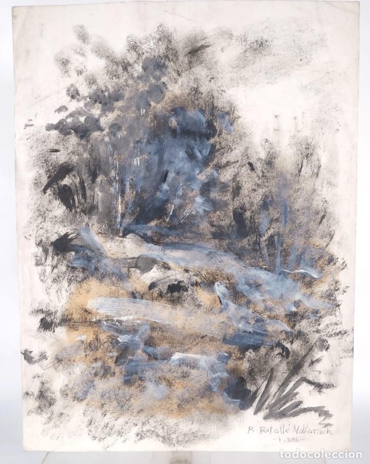 ÓLEO SOBRE PAPEL COMPOSICIÓN FIRMADO R.BATALLÉ MALLARACH 1985 (Arte - Pintura - Pintura al Óleo Contemporánea )