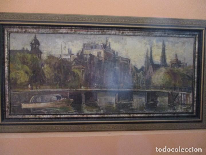 CUADRO DE ANTONIO DE LA PEÑA, JUNTO A LA RIA DE BILBAO (Arte - Pintura - Pintura al Óleo Contemporánea )