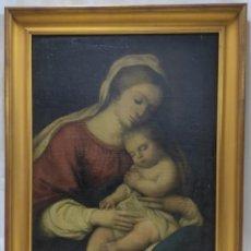 """Arte: ESCUELA ITALIANA.""""VIRGEN CON EL NIÑO DORMIDO"""".ÓLEO SOBRE LIENZO SIN FIRMAR.PROBABLEMENTE SIGLO XVIII. Lote 275900048"""